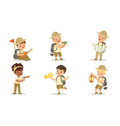 collection kids scouts camping cute boys and vector image