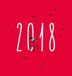 collection of red dog for 2018 year vector image
