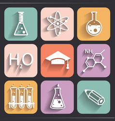 Colored chemistry icons for learning and web appl vector