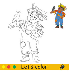coloring with template halloween scarecrow vector image