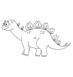 Colorles funny cartoon stegosaurus vector