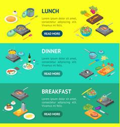 cooking or preparation food banner horizontal set vector image