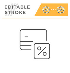 Credit card interest rate editable stroke icon vector