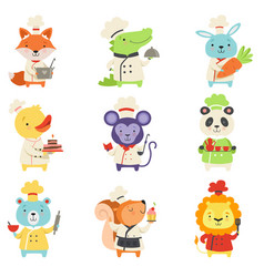 Cute animals in chef uniform set lovely cartoon vector