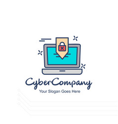 Cyber company laptop logo with white background vector