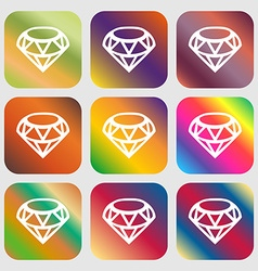 Diamond Icon sign Nine buttons with bright vector image