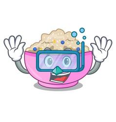 Diving traditional porridge rice in bowl cartoon vector