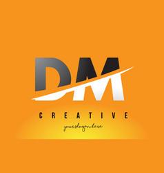 Dm d m letter modern logo design with yellow vector