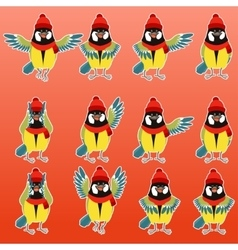 Flat titmouse with scarfs and hats set vector