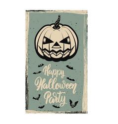 Flyer template halloween party evil pumpkin on vector