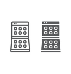 Folding smartphone line and glyph icon device and vector