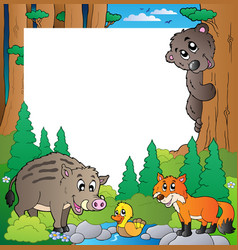 frame with forest theme 2 vector image