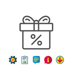 Gift box with percentage line icon present vector