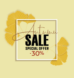 Ginkgo biloba leaves sale banner yellow poster vector