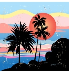 Graphics tropical landscape with palm trees vector