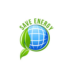 Green energy planet ecology save earth icon vector