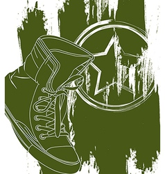Green military shoes over white background vector
