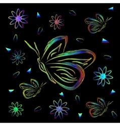 Greeting card with flowers and butterflies in neon vector image