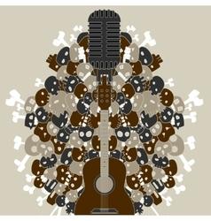 Guitar with skulls and bones vector
