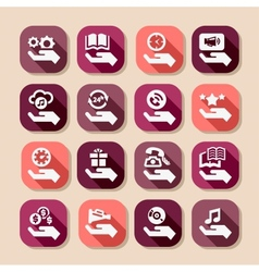 Hand concept long shadows icons vector
