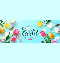 happy easter sale advertising banner festive vector image