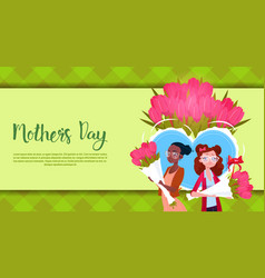 Happy mother day woman hold flowers bouquet vector