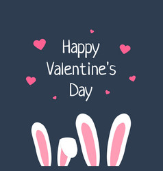 happy valentine day with rabbit ears vector image