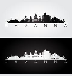 havana skyline and landmarks silhouette vector image