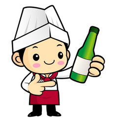 Head chef character promotes a distilled spirits vector