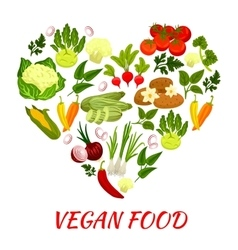 Heart shape icon with vegan vegetables elements vector image