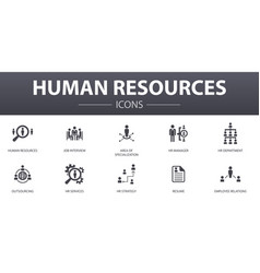 Human resources simple concept icons set contains vector