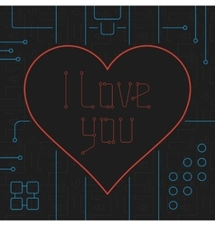 I Love You Techno Line Art Bakcground vector