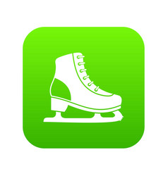 ice skate icon digital green vector image