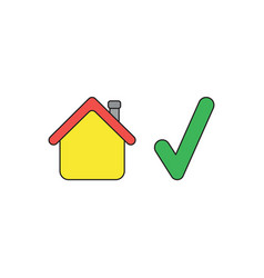 Icon concept house with check mark black vector