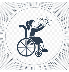 Icon disabled girl with a stroller vector