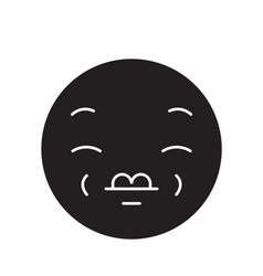 kissing emoji black concept icon kissing vector image