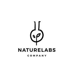 leaf lab nature logo icon line outline doodle vector image