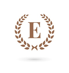 Letter E laurel wreath logo icon vector