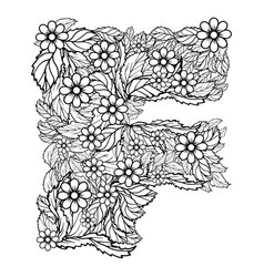 letter f dudling drawing mandala vector image