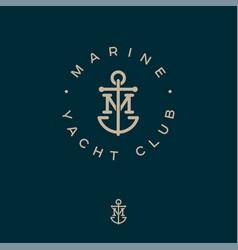 m monogram marine logo yacht club anchor vector image