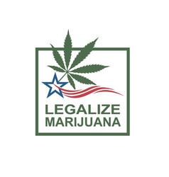 Marijuana leaf on flag vector