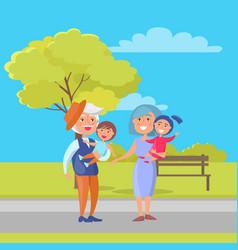 Mature couple holding children grandpa and grandma vector
