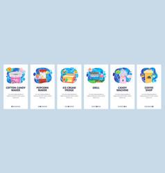 mobile app onboarding screens amusement park vector image