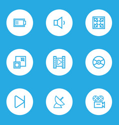 multimedia icons line style set with low battery vector image