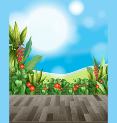 Nature background with flower field and green vector