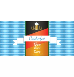 Oktoberfest beer festival with white ribbon vector image