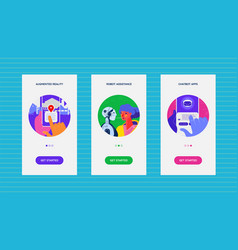 onboarding app screens with artificial vector image