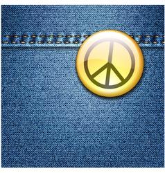 Peace badge on denim vector
