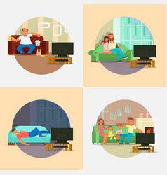 People watching tv at home flat vector