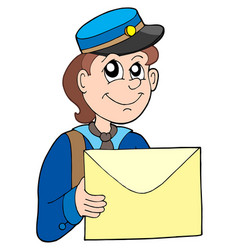 postman with letter vector image